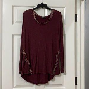 Women's oversized dress shirt (maroon)